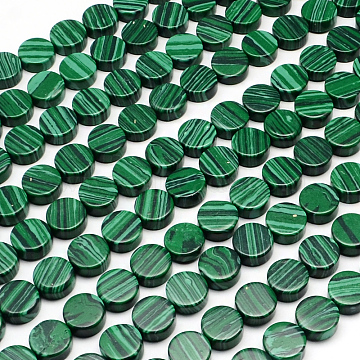 10mm Flat Round Malachite Beads
