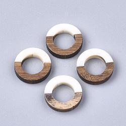 Anneaux de liaison en résine et bois, anneau, blanc crème, 18x4mm(RESI-S358-21G)