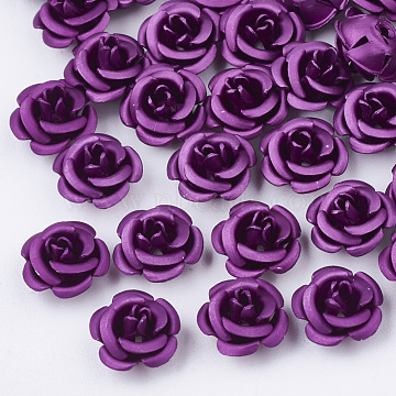 Aluminum Beads, Frosted, Long-Lasting Plated, 5-Petal Flower, Dark Orchid, 7.5~8x5mm, Hole: 1mm(FALUM-T001-03B-17)