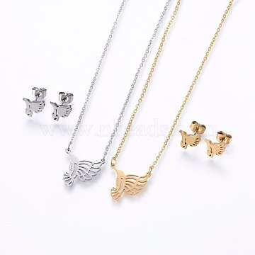 304 Stainless Steel Jewelry Sets, Stud Earrings and Pendant Necklaces, Eagle, Mixed Color, Necklace: 18.9inches(48cm); Stud Earrings: 8.5x9x1.2mm; Pin: 0.8mm(SJEW-O090-26)
