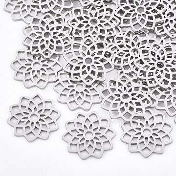 201 Stainless Steel Filigree Joiners Links, Laser Cut Links, Flower, Stainless Steel Color, 16.5x16x1mm(X-STAS-T044-40P)