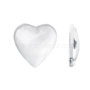 20mm Clear Heart Glass Cabochons