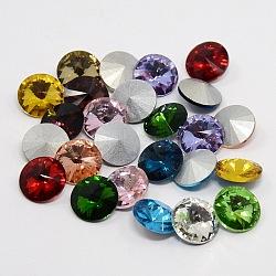 Strass en verre pointé , rivoli strass, dos plaqué, cône à facettes, couleur mixte, 14x7mm(X-RGLA-R003-14mm-M)
