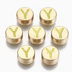 Alloy Enamel Beads, Cadmium Free & Lead Free, Flat Round with Initial Letters, Light Gold, Green Yellow, Letter.Y, 8x4mm, Hole: 1.5mm(X-ENAM-S122-029Y-RS)