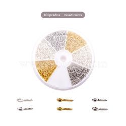 1 boîte trois couleurs fer vis oeil broche cheville bails, pour la moitié de perles percées, or, argent et platine couleur, 10x4x1mm, trou: 2mm; environ 100pcs / centainer, environ 600 pcs / boîte(IFIN-X048-02)