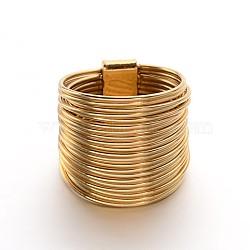 304 inox larges anneaux de la bande de femmes, taille 8, or, 18 mm(RJEW-M091-15G-18mm)
