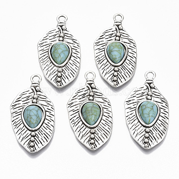 Tibetan Style Alloy Pendants, with Synthetic Turquoise, Cadmium Free & Lead Free, Leaf, Antique Silver, 47.5x24x7mm, Hole: 3mm(X-PALLOY-R113-011-RS)