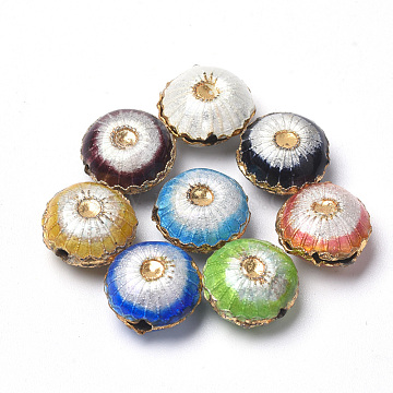 Handmade Cloisonne Beads, Flat Round, Mixed Color, 10x6mm, Hole: 1mm(CLB-S006-12)