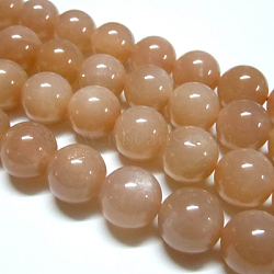 Natural Sunstone Beads Strands, Round, DarkSalmon, 8mm, Hole: 1mm