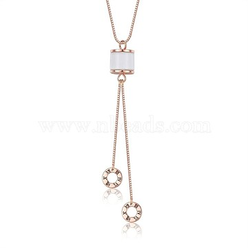 925 Sterling Silver Pendant Necklaces, with Box Chains and Cubic Zirconia, Donut with Roman Numerals, Rose Gold, 16.1 inches(41cm)(NJEW-BB35248)