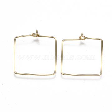 Brass Earring Hooks, Nickel Free, Real 18K Gold Plated, Rectangle, 20 Gauge, 24.5~26x21~22x0.8mm; Pin: 0.8mm(KK-T038-427G)