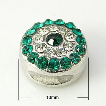 Alloy Rhinestone Beads, Cadmium Free & Lead Free, Grade A, Platinum Color, Round, Emerald, 10x6mm, Hole: 1.5mm(RB-E007-1)