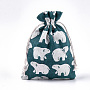 Polycotton(Polyester Cotton) Packing Pouches Drawstring Bags, with White Bear Printed, Colorful, 18x13cm