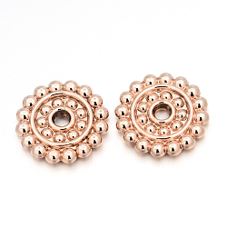 Cadmium Free & Nickel Free & Lead Free Alloy Disc Beads, Long-Lasting Plated, Rose Gold, 14x2mm, Hole: 2mm(PALLOY-E390-09RG-NR)