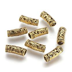 Perles de tube en alliage de style tibétain, Or antique, 19x6mm, Trou: 4mm(PALLOY-F133-17AG)