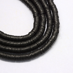Eco-Friendly Handmade Polymer Clay Beads, Disc/Flat Round, Heishi Beads, Black, 4x1mm, Hole: 1mm; about 380~400pcs/strand, 17.7 inches