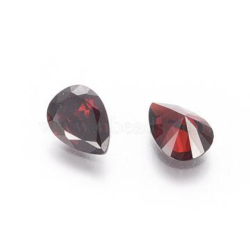 Cubic Zirconia Pointed Back Cabochons, Grade A, Facetde, teardrop, Dark Red, 6x4x2.4mm(X-ZIRC-M006-6x4mm-015)