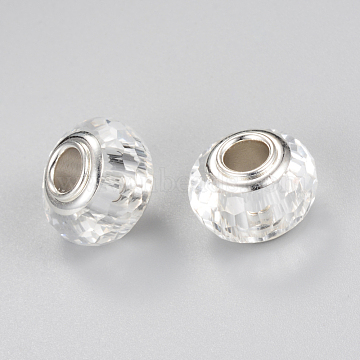 Glass European Beads, Large Hole Beads, with Silver Color Plated Brass Single Cores, Faceted, Rondelle, Clear, 13~14x9~10mm, Hole: 4.5mm(X-GPDL-S037-19)