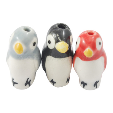 Handmade Porcelain Beads, Famille Rose Porcelain, Penguin, Mixed Color, about 20mm long, 10mm wide, 11.5mm thick, hole: 1.5mm(X-CF331Y-M)