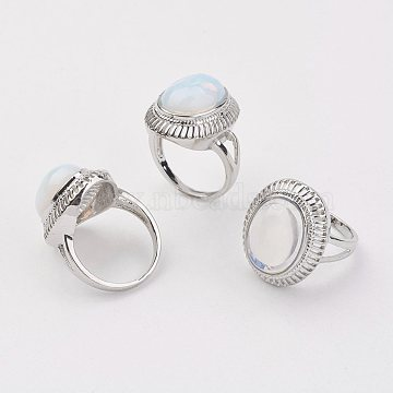 Opalite Finger Rings, with Alloy Ring Finding, Platinum, Oval, Size 8, 18mm(X-RJEW-P122-03)