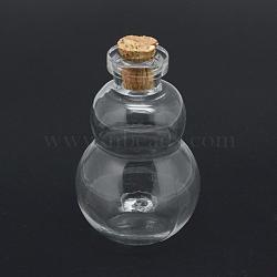 contenants de perles de bouteilles en verre, avec bouchon en liège, souhaitant bouteille, gourde, effacer, 43x27x27 mm, trou: 7 mm, goulot d'étranglement: 10 mm de diamètre(AJEW-R045-19)