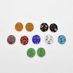 cabochons ovales de lampwork, couleur mélangée, 12x10x3 mm(LK-F007-10x12mm-M)