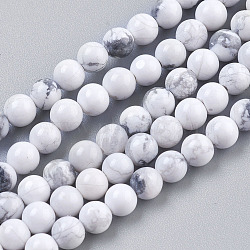 Natural Howlite Beads Strands, Round, White, 4mm, Hole: 1mm; about 41pcs/strand, 7.6