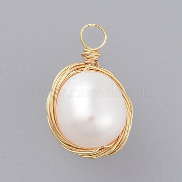 Natural Baroque Pearl Keshi Pearl, Cultured Freshwater Pearl Pendants, with Real 18K Gold Plated Copper Wire, Oval, Seashell Color, 17~22x11mm, Hole: 2.5mm(X-PALLOY-JF00409)