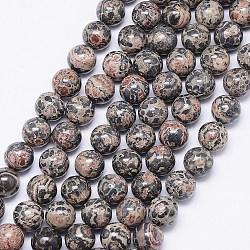 "Brins de perles de jaspe en peau de léopard naturel, rond, 8mm, trou: 1mm; environ 46 pcs/chapelet, 15.74""(G-F425-13)"