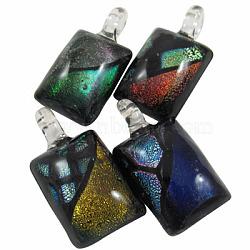 Pendentifs en verre dichroïque manuel, rectangle, couleur mixte, 47x24mm, Trou: 8mm(DICH-X042-M)