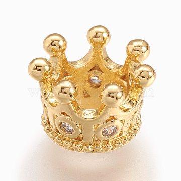 Brass Micro Pave Cubic Zirconia European Beads, Large Hole Bead, Crown, Golden, 11x7.5mm, Hole: 5mm(X-ZIRC-E117-50G)