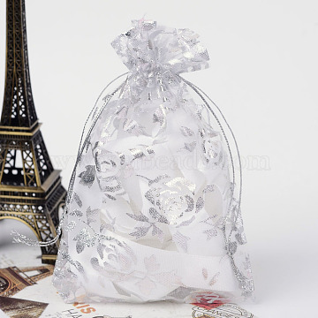 Rose Printed Organza Bags, Gift Bags, Rectangle, White, 15x10cm(OP-R021-10x15-03)