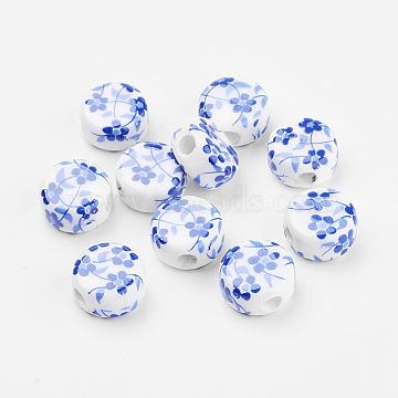 Handmade Printed Porcelain Plum Flower Ceramic Beads, Flat Round, Blue, 12x7mm, Hole: 3mm(X-PORC-Q177-12mm-3)
