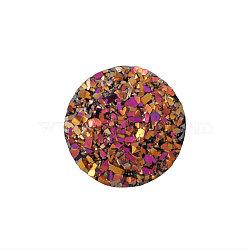Cabochons en résine, imitation druzy agate, plat rond, de couleur plaquée ab , marron, 12x3mm(X-CRES-Q191-HA027-12)