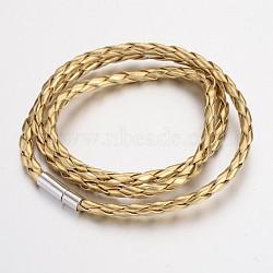 """Imitation tressée bracelets d'emballage cordon en cuir, avec fermoirs en laiton, platine, lightkhaki, 23"""", 5 mm(BJEW-L566-02C)"""