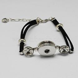 Création de bracelet en imitation suède, en laiton s'enclenche, Perles acryliques, mousquetons en alliage, des chaînes de fer et de strass, platine, noir, 190x22x5mm(X-BJEW-R175-03)