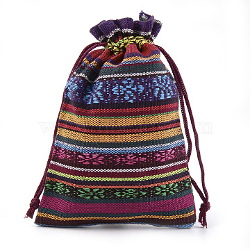 Polycotton(Polyester Cotton) Packing Pouches Drawstring Bags, with Printed, Ethnic Style, Colorful, 13.1~14.5x9.5~10cm(X-ABAG-S004-08C-10x14)