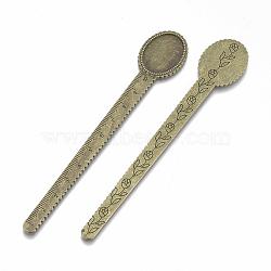 Supports de cabochon en alliage de style tibétain, règle / signets, bronze antique, bac: 25x18 mm; 135x23x2 mm; environ 75 pcs / 1000 g(TIBE-R001-01AB)