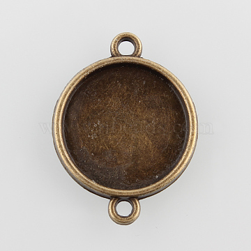 Flat Round Alloy Cabochon Connector Settings, Plain Edge Bezel Cups, Cadmium Free & Nickel Free & Lead Free, Antique Bronze, Tray: 16mm, 25x19x2mm, Hole: 2mm(X-PALLOY-N0087-03AB-NF)