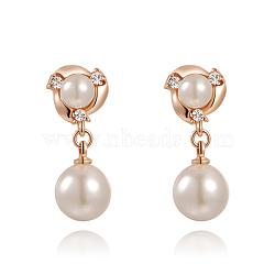 18 k véritables cristaux autrichiens en alliage de mode plaqués or rose pendent, boucles d'oreilles à pince, avec des perles acryliques, 001 _crystal, 26x11 mm(EJEW-AA00057-01)
