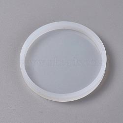 Moules Silicone pour bricolage, moules de résine, outils de moule d'artisanat en argile, plat rond, blanc, 87x10mm(AJEW-F030-03C)