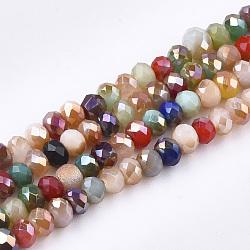 Стеклянные бусины с гальваническим покрытием , AB цвет, граненые, рондель, разноцветные, 3x2 мм, Отверстие : 1 мм; около 192~195 шт / нитка, 16.1 дюйм