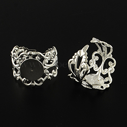 Flat Round Brass Filigree Ring Settings, Adjustable Ring Base Findings, Silver Color Plated, Tray: 10mm; 17mm(X-MAK-S033-001S)