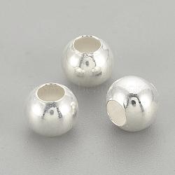 Perles 925 en argent sterling, rond, argenterie, 3x2.5mm, Trou: 1mm(STER-S002-12-3mm)