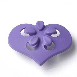 Boutons en acrylique, caoutchouté, 1-trou, coeur avec fleur, blueviolet, 41.5x31x15.5mm, Trou: 4mm(MACR-T024-09A)
