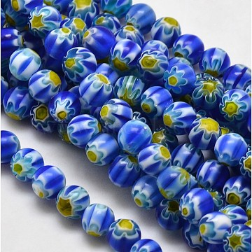 Round Millefiori Glass Beads Strands, Blue, 7.6~8mm, Hole: 1mm, about 48pcs/strand, 14.9 inches(X-LK-P002-02)