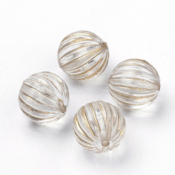 Plating Transparent Acrylic Beads, Golden Metal Enlaced, Corrugated Round, Clear, 14mm, Hole: 2mm(X-PACR-Q115-60-14mm)