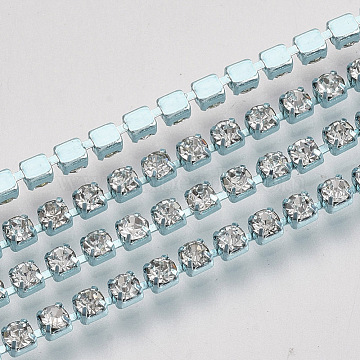 Electrophoresis Brass Rhinestone Strass Chains, Crystal Rhinestone Cup Chains, with Spool, Pale Turquoise, SS6.5 Rhinestone: 2~2.1mm; about 10yards/roll(CHC-Q009-SS6.5-A01)