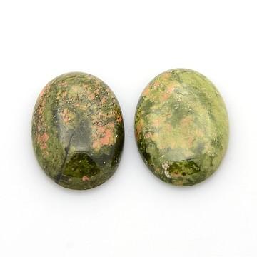 Natural Unakite Gemstone Cabochons, Oval, 25x18x5~7mm(X-G-P023-08)