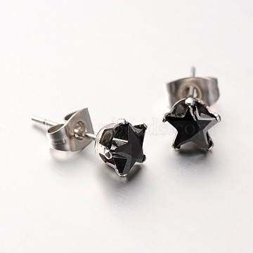 Lady's 304 Stainless Steel Pave Cubic Zirconia Star Ear Studs, Black, Stainless Steel Color, 8x5mm; Pin: 0.7mm(X-EJEW-L094-8mm-04)